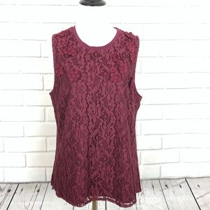 New Anthropologie Maroon Lace Top Sz Large